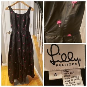 Lilly Pulitzer Black Silk Gown Pink Palm Trees